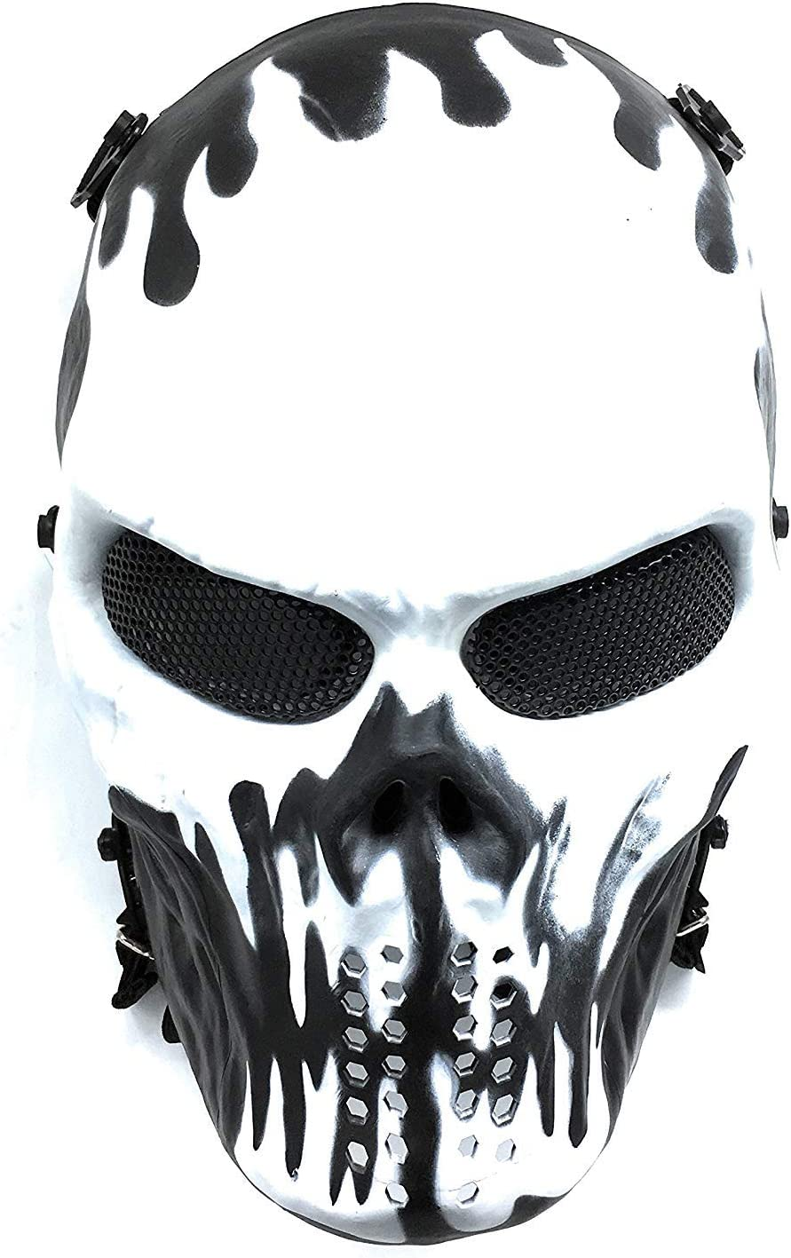 CS mascarilla de protección Halloween Airsoft Paintball Full Face Skull Máscara de esqueleto (Blanco/Negro)
