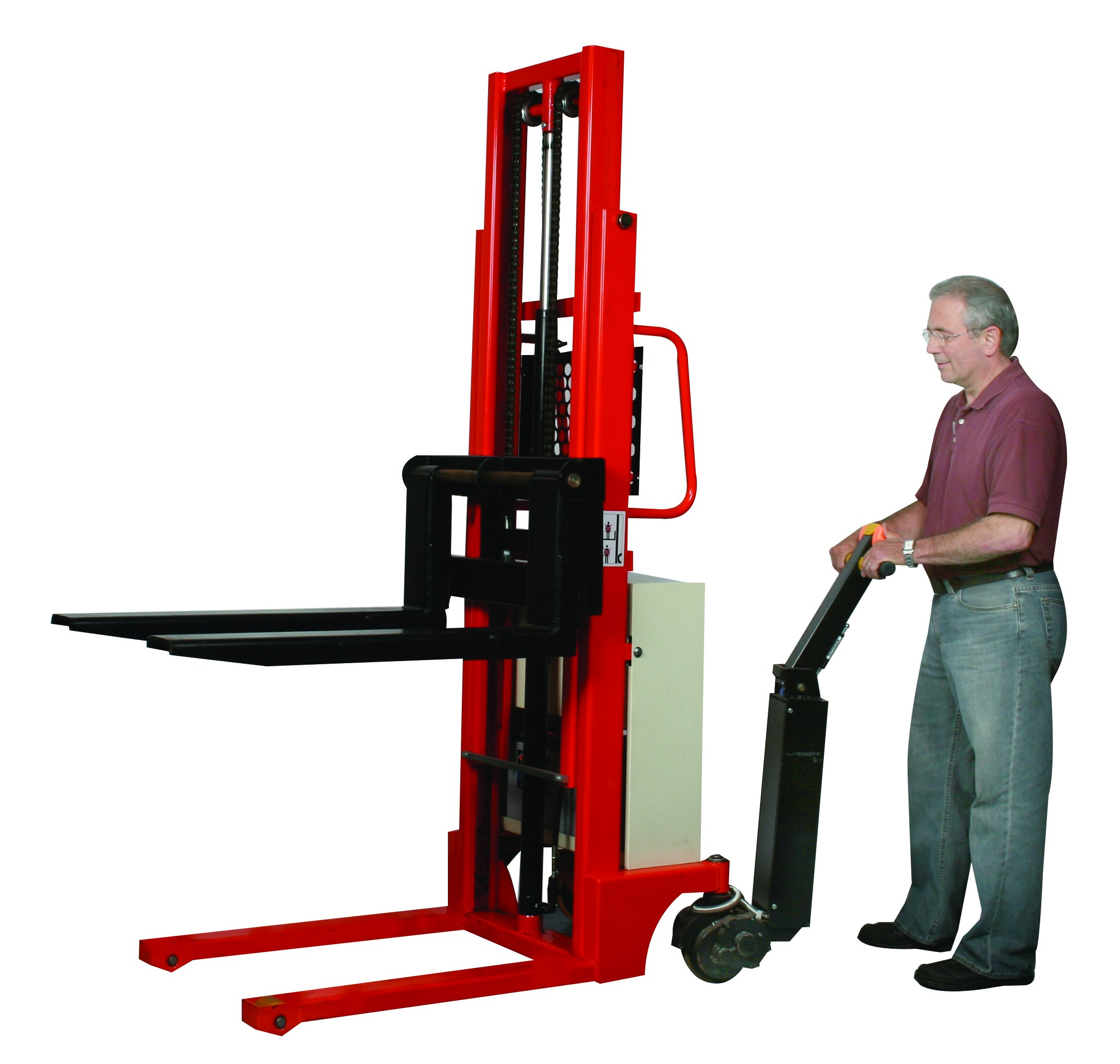 Wesco Industrial Products 272943 Power Drive Stacker, 2200 Pound Load Capacity, 17-1/2'' Load Center, 35-1/4'' Length x 5'' Width