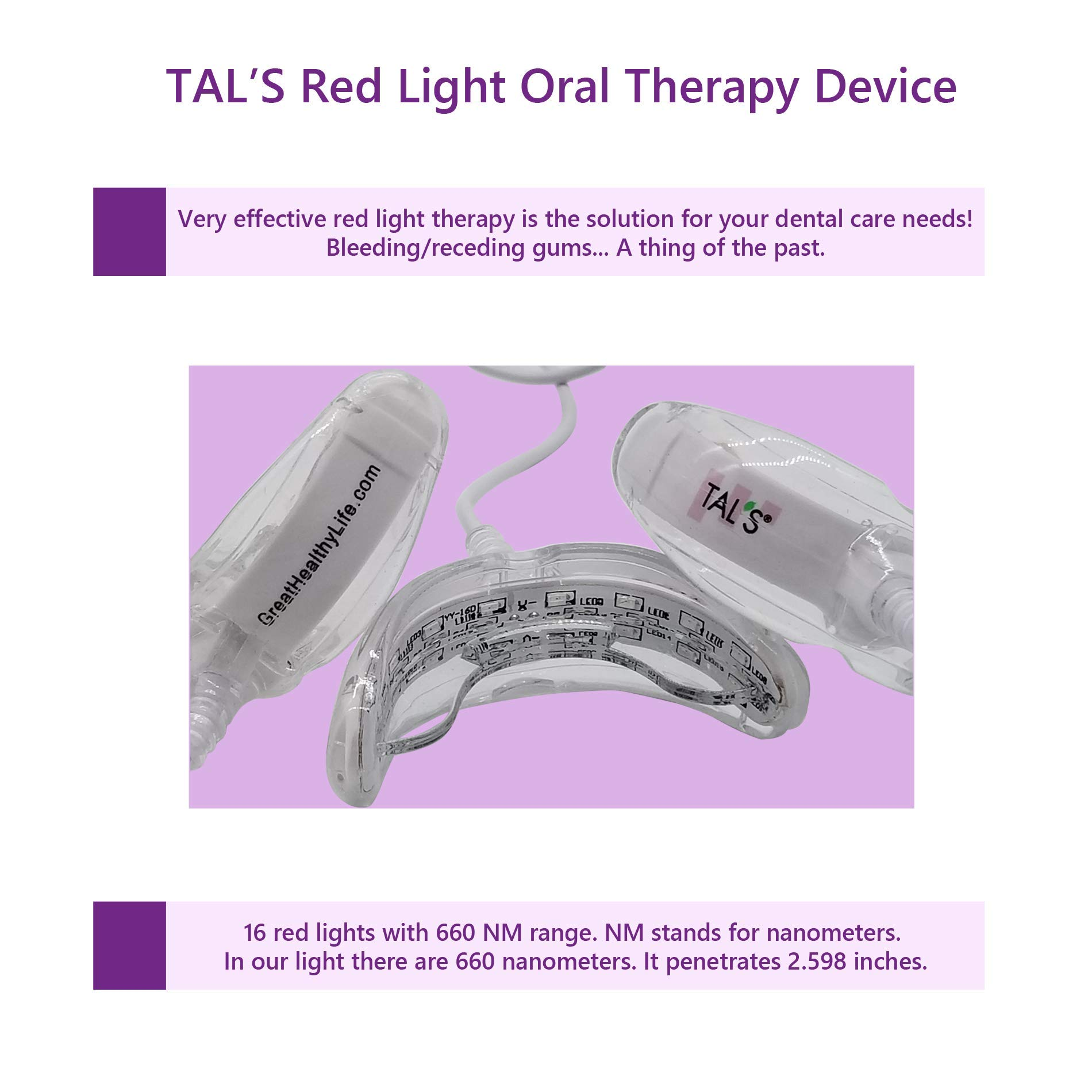 TAL'S Red Light Oral Health Dental Device | Red Light Therapy for Immediate Relief of Tooth Pain Gum Sensitivity | Promotes Healing of Tissue & Bone | Reduces Bacteria, Inflammation and Receding Gums by TAL'S (Image #8)