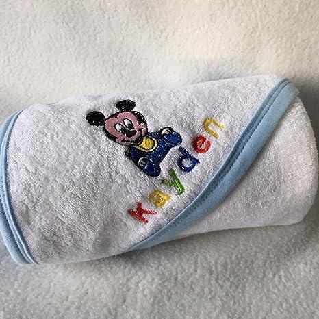Nombre personalizado bebé Mickey Mouse, lavado Toalla chiffon. Belle Bordado de gran calidad.