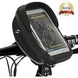Anyshop 自転車 トップチューブバッグ バイク スマホホルダー バッグ 強力固定 防水 遮光 防塵 スマホスタンド フレームバッグ ハンドルバック 軽便 大容量 タッチパネル操作可能 iPhone/Android多機種 6.5インチスマホ対応