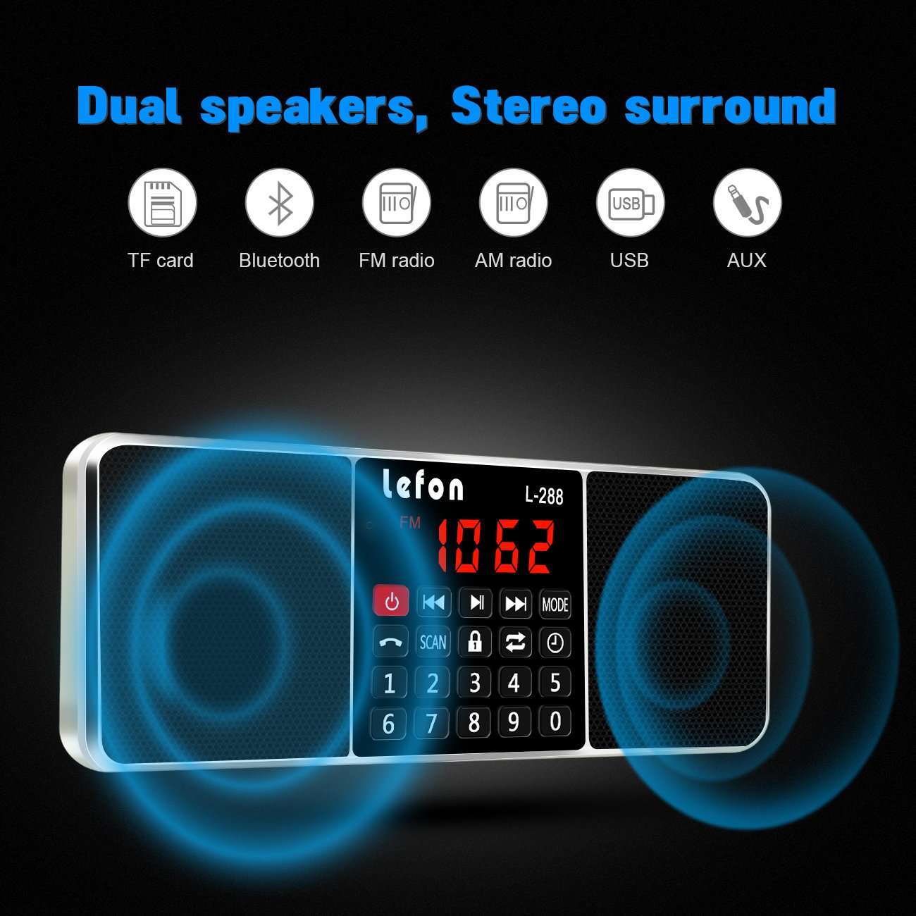 LEFON Multifunction Digital AM FM Radio Bluetooth Media Speaker MP3 Music Player Support TF Card/USB Disk with LED Screen Display and Setting Timing Shutdown Function (Gold-Upgraded Version) by Lefon (Image #2)