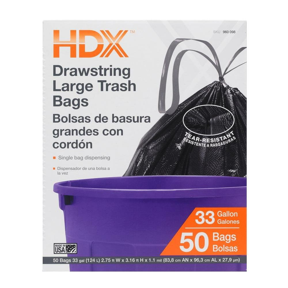Amazon.com: HDX 33 Gal. Large Trash Drawstring Black Trash ...