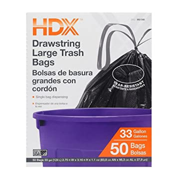 HDX 33 Gal. Large Trash Drawstring Black Trash Bags (50-Count)