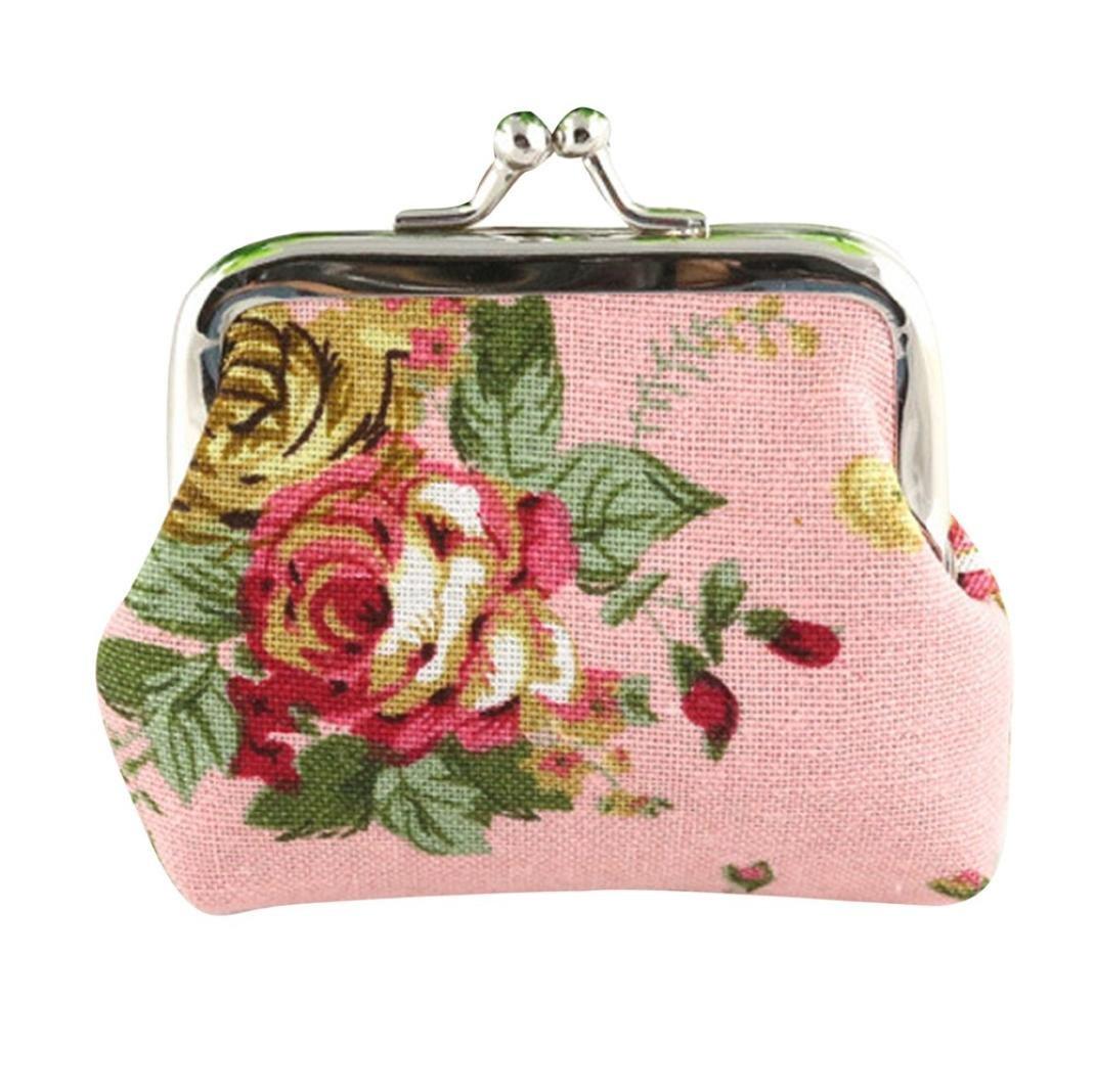 レディースレトロフラワー小さな財布留め金財布クラッチバッグ、llguz Ladyヴィンテージ軽量ファッショナブル財布 B079DNDB3Z ピンク