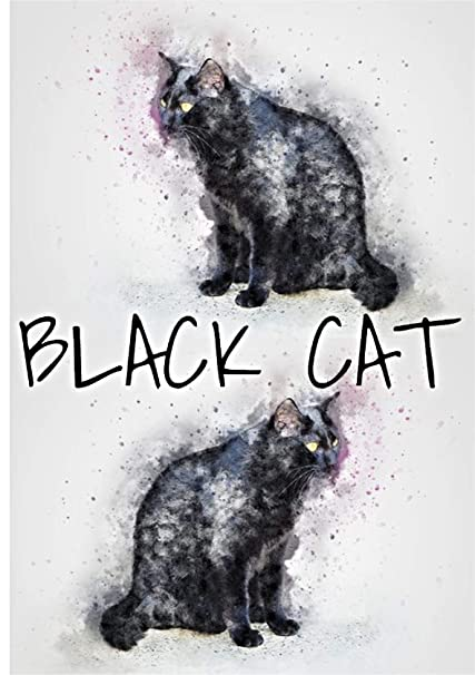 Tarjeta de felicitación de gatos negros, tarjeta de gatos negros, tarjeta de arte de