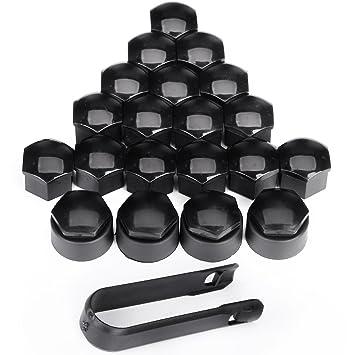 Capuchón para tuerca, negro, 4 unidades, forma antirrobo, 24 mm + 16x forma normal y 17 mm para rueda de llanta, tornillo pequeño: Amazon.es: Coche y moto