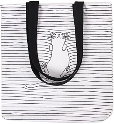 Flowertree Womens Lovely Cat Print Canvas Tote Shopping Bag