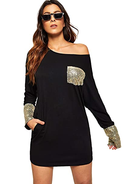 6267e314834 SheIn Women s Casual Long Sleeve Sequin Loose T Shirt Dress with Pocket  Black S