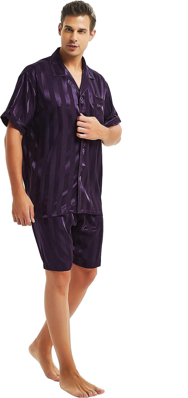 LONXU Mens Satin Short Pajamas Set Sleepwear Loungewear S~4XL