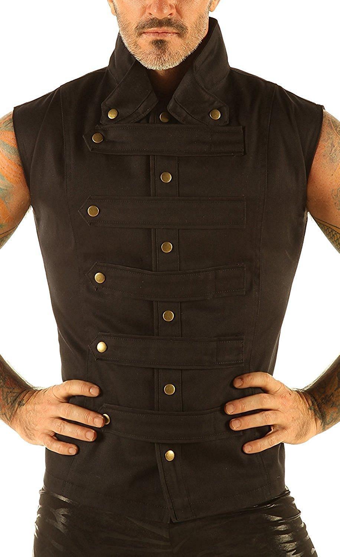 Men's Steampunk Military Waistcoat Vest Top Mandarin Collar Guard Snap SPA1 3