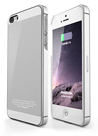 Rhidon Carcasa con receptor inalámbrico para iPhone 5S; carcasa con cargador inalámbrico QI para teléfonos inteligentes Apple; conector Lightning ...