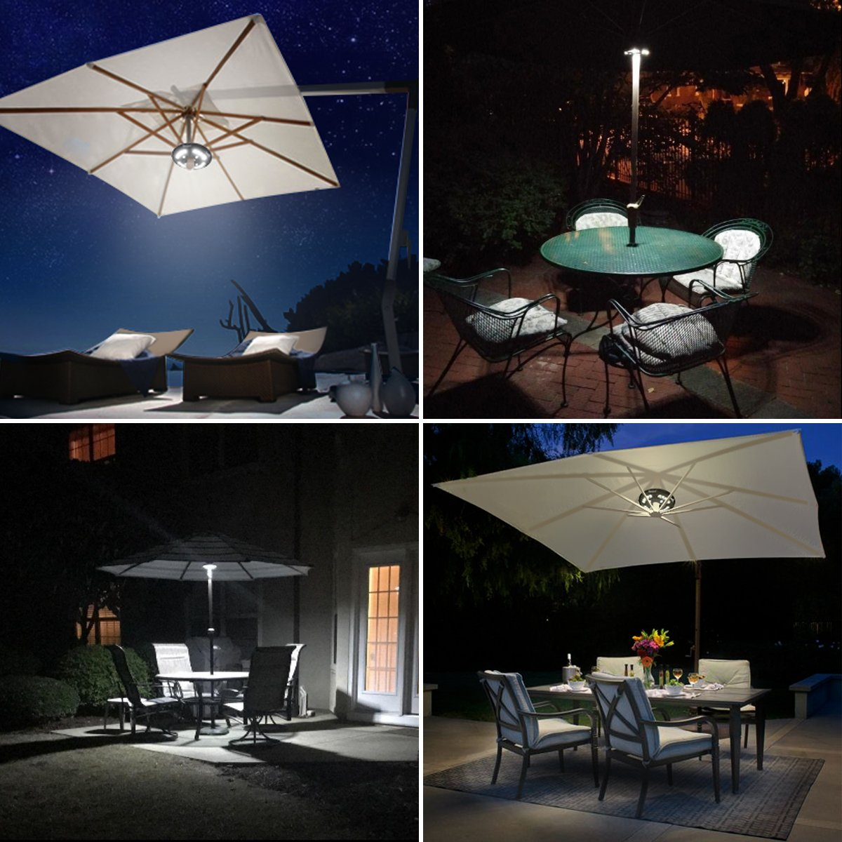 AMIR (Upgraded Version) Patio Umbrella Light, Cordless 24 LED Night Lights, 12,000 lux Umbrella LED Light, Battery Operated Umbrella Pole Light for Umbrellas, Camping Tents or Outdoor Use (Black) by AMIR