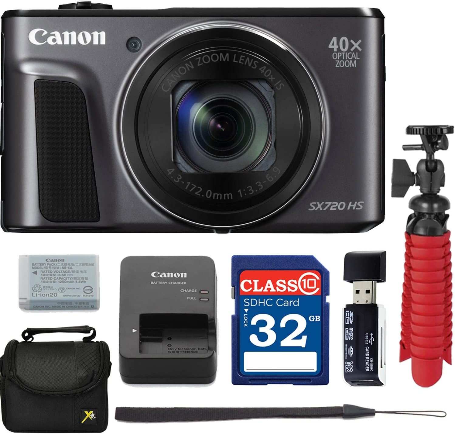 Canon PowerShot SX720 HS Digital Camera with Free Accessory Bundle Including 32 GB SD Memory Card + USB Card Reader + Spider Tripod + Camera Case - International Version