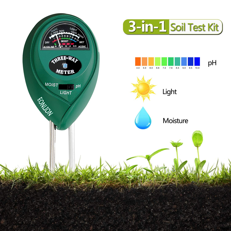 EONLION Goldpar Soil pH Meter, 3 in 1 Soil Test Kit for Moisture, Light & pH or Acidity, Gardening Tools for Home, Lawn, Garden, Plants, Farm, Indoor Outdoor Plant Care Soil Tester (No Battery Needed)