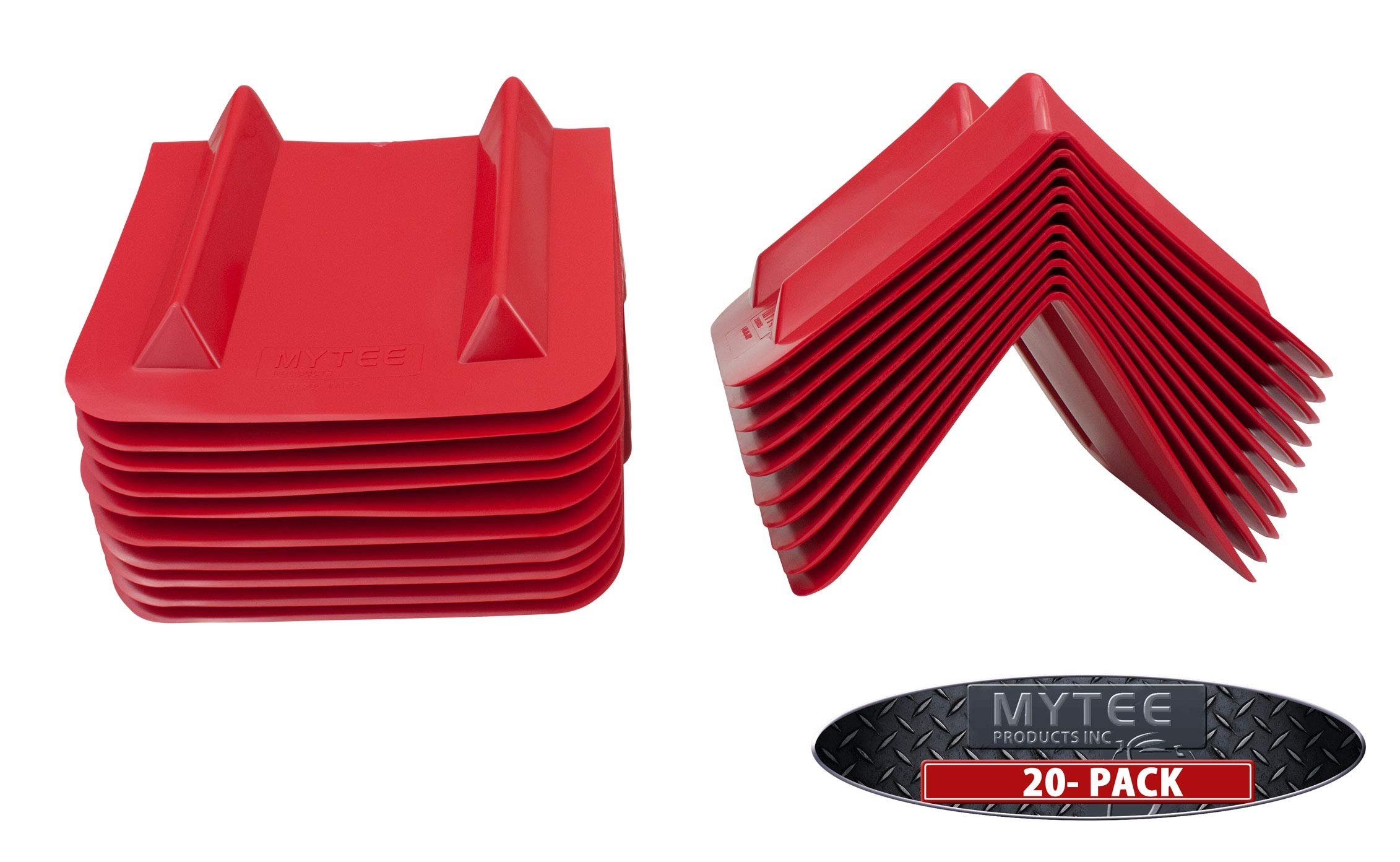 (20 Pack) Red Vee Shaped Corner/V Edge Protector, 12'' Flatbed Truck Trailer