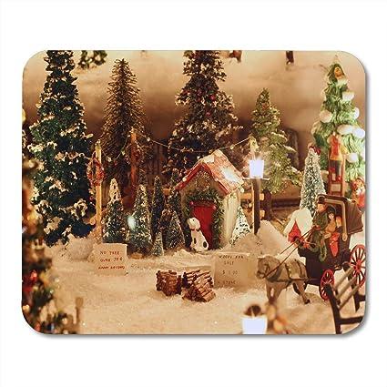 Miniature Christmas Village.Amazon Com Emvency Mouse Pads Bauble Blue Stocking