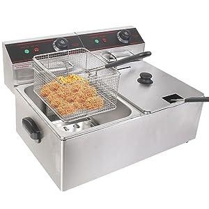 New 5000W Electric Countertop Deep Fryer Dual Tank Commercial Restaurant Steel
