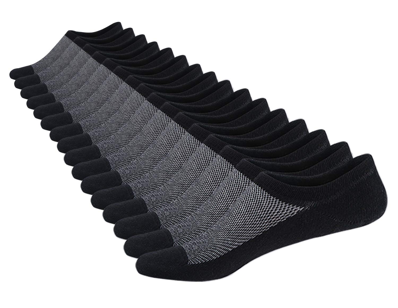 SIXDAYSOX Men's 8 Pairs No Show Odor-Resistant Non Slip Socks Shoe Size 6-11 (Black-New)