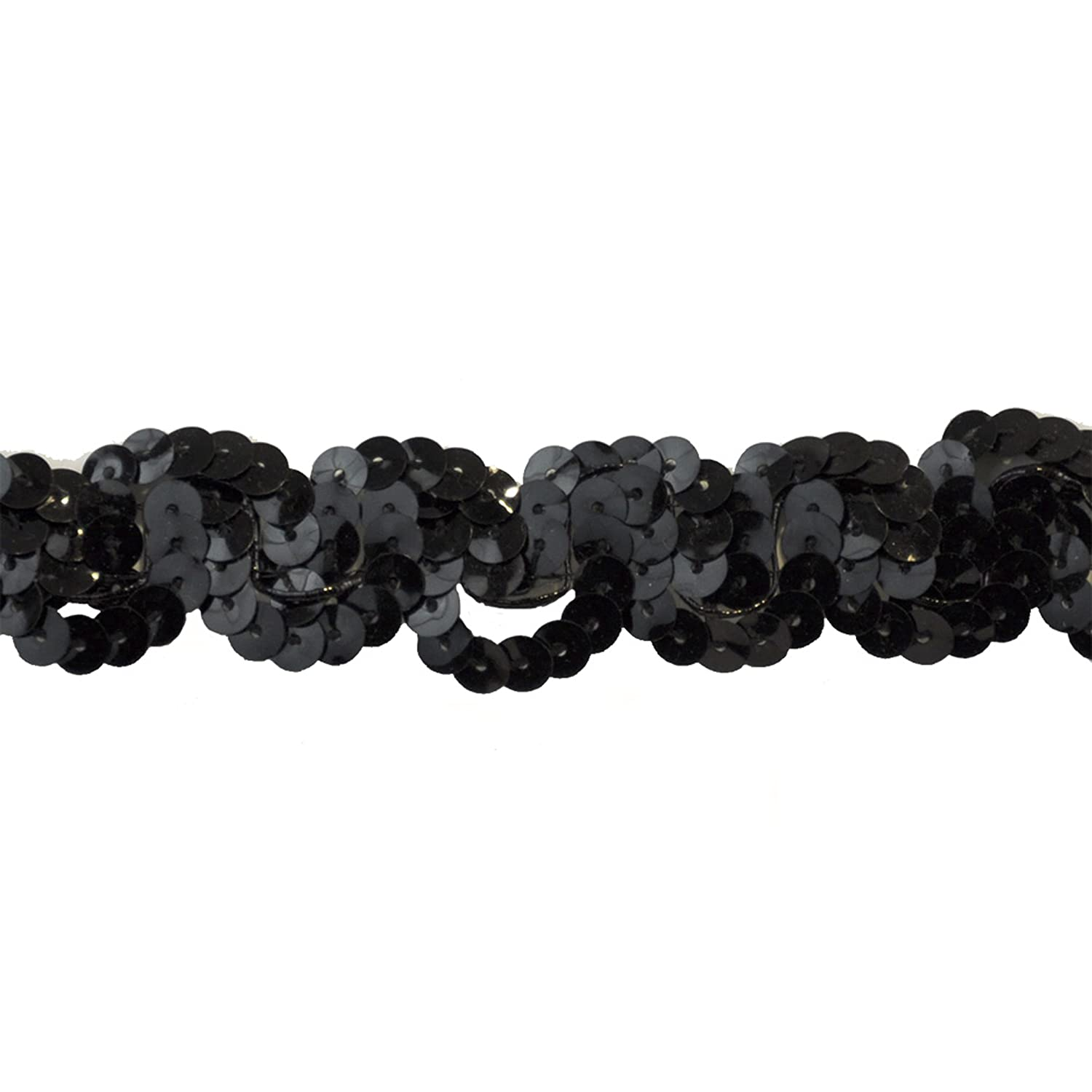 Sequin Trim 1-Inch Wide Polyester Non Stretch Rolls for Arts and Crafts, 10-Yard, Black Belagio Enterprises BQ-301 - 02 BLACK