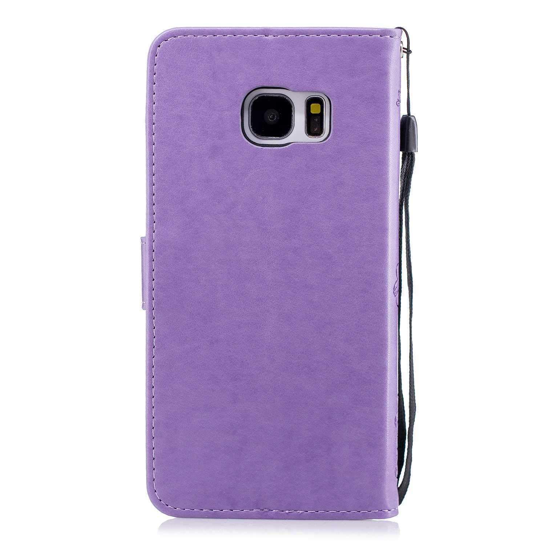 Premium Portefeuille en Cuir Flip /Étui Housse de Bumper Folio /à Clapet pour Samsung Galaxy S7 Edge DENDICO Coque Galaxy S7 Edge Violet