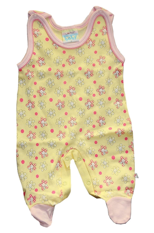 A/&O Lama Baby Strampler 50 56 62 68 74 80 86 /Ärmellos Gelb//Blumen Schlafanzug