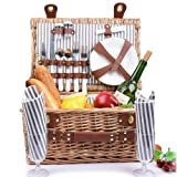 SatisInside New 2020 USA Insulated Deluxe 16Pcs Kit Wicker Picnic Basket Set for 2 People - Reinforced Handle - Grey Stripes