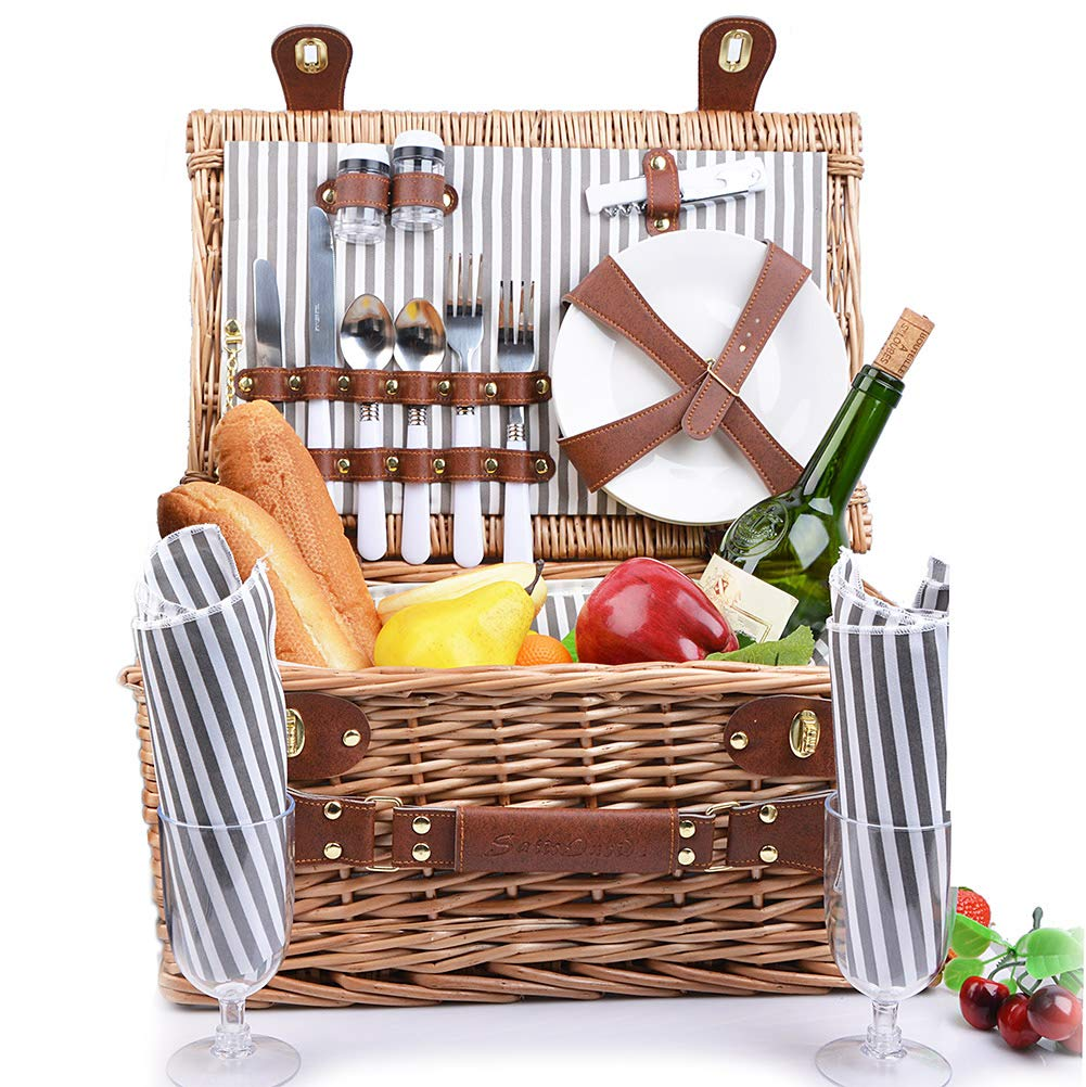 SatisInside New 2020 USA Insulated Deluxe 16Pcs Kit Wicker Picnic Basket Set for 2 People - Reinforced Handle - Grey Stripes by SatisInside