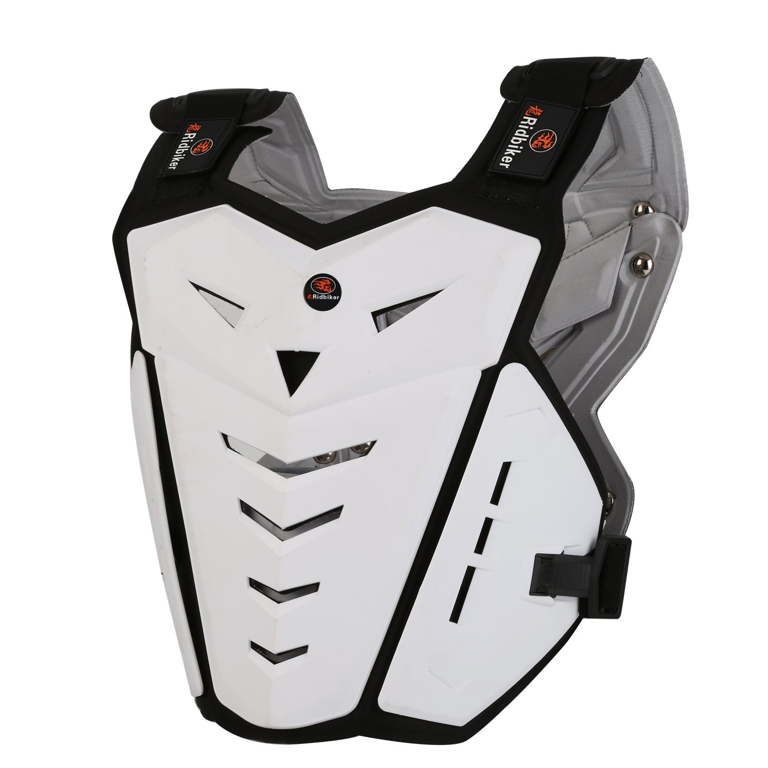 RIDBIKER Motorcycle Armor Vest Motorcycle Riding Chest Armor Back Protector Armor Motocross Off-Road Racing Vest,White