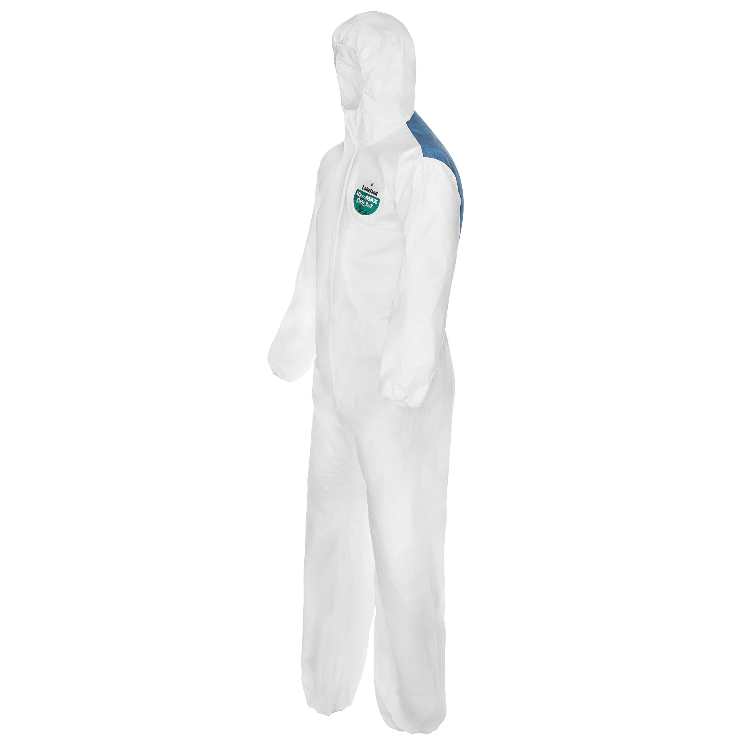 Lakeland MicroMax NS Cool Suit Microporous Disposable Coverall with Hood, Elastic Cuff, 2X-Large, White (Case of 25)