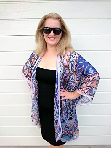 Amazon.com: Silk Kimono Robe, Blue Beach Cover Up, Plus Size ...