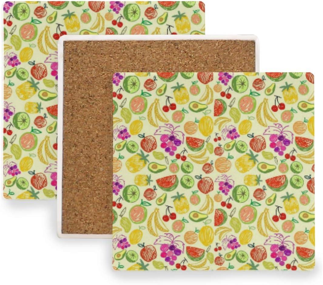 Amazon Com Watermelon Cherry Pineapple Fruit Doodle Ceramic Coasters For Drinks Square 4 Piece Coaster Set Coasters
