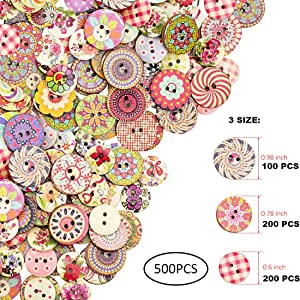 500 Pieces Flower Buttons Large Colorful Buttons Bulk Nature woode Craft Button for Colorful Sewing DIY Craft Decorations
