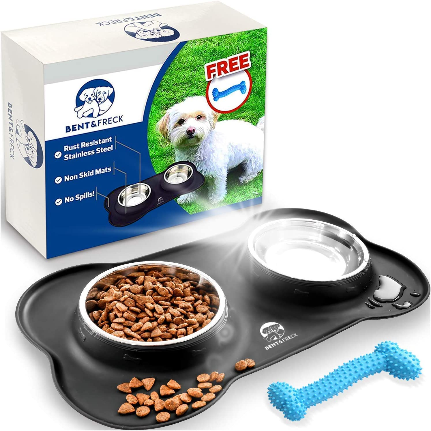 Bent & Freck Dog Bowl for Small Dogs & Puppies - Stainless Steel Water & Food Dish Set with a Non-Skid Mat - Rust Resistant, Prevents Spills & Tipping