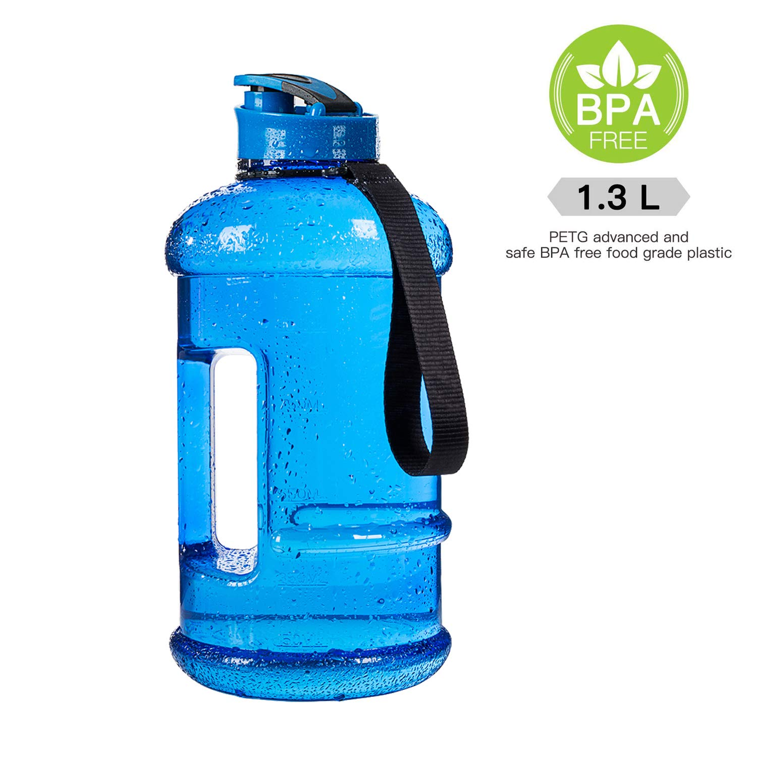 1.3l dishwashersafe transparent blueee 44oz Moonice Half Gallon Dishwasher Safe 2.2l Litre and 1.3l Big Capacity BPA Free Leakproof Plastic Gym Sports Water Bottle Large Drinking Water Jug Hydrate Container