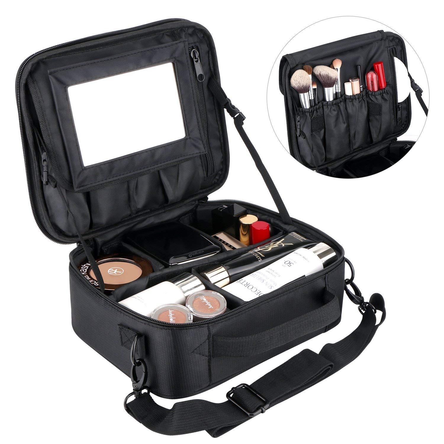 Large Makeup Bag With Mirror, Travel Waterproof Cosmetic Bag Professional Makeup Bags for Women