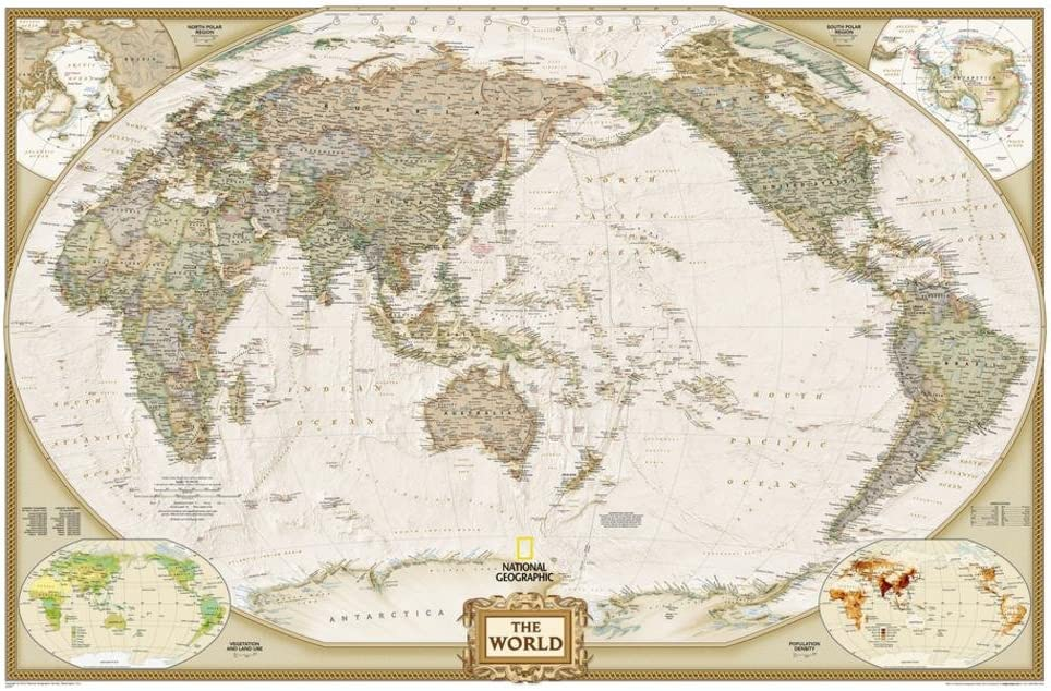 Rolled Size 24x36 NATIONAL GEOGRAPHIC WORLD MAP Travel Map