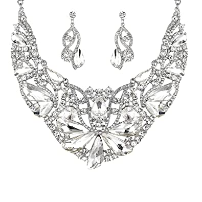 f4b28776fd Women Bridal Austrian Crystal Necklace Teardrop Earrings Jewelry Set Gifts  fit with Party Wedding Dress