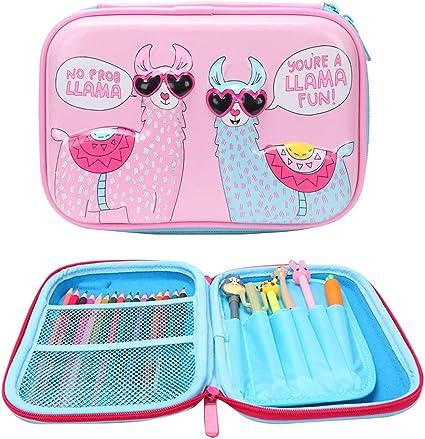 DreamJing Llama Estuche de gran capacidad para lápices, bonito estuche de papelería para niñas, estuche para lápices de llama, estuche para lápices de papelería, estuche para estudiantes y niñas: Amazon.es: Oficina y