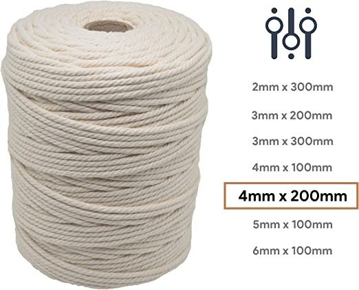 Lilly Arts - Cuerda de macramé (algodón, 4 mm x 200 m): Amazon.es: Hogar