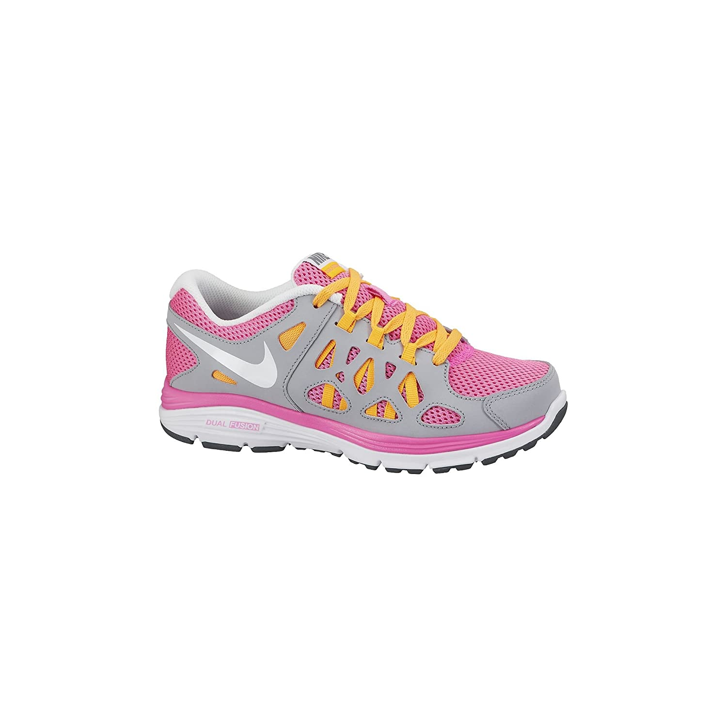d9f19c3d8bed Amazon.com  Nike Kids Dual Fusion Run 2 (GS) Pnk Glw White Wlf Gry Atmc Mng  Running Shoe 7 Kids US  Shoes