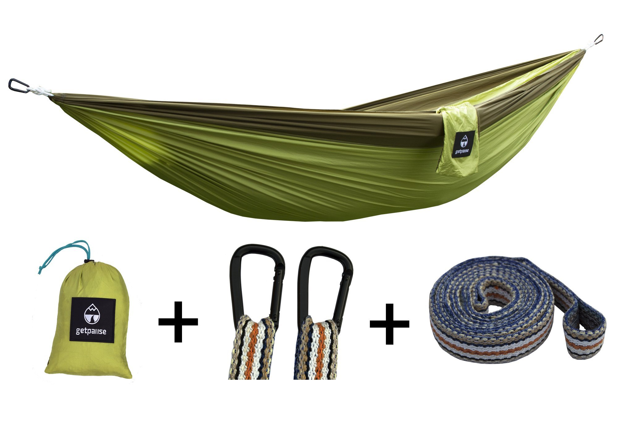 getpause Double Camping Parachute Hammock with Tree Straps – Portable Lightweight for Backpacking, Travel, Beach,Yard