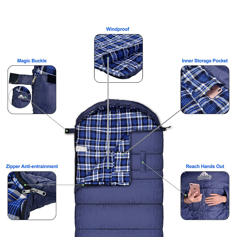 5b2d2b6609f Agemore Cotton Flannel Sleeping Bag XL For Camping Envelope Sleeping Bags  For Adults 91X35 Great For