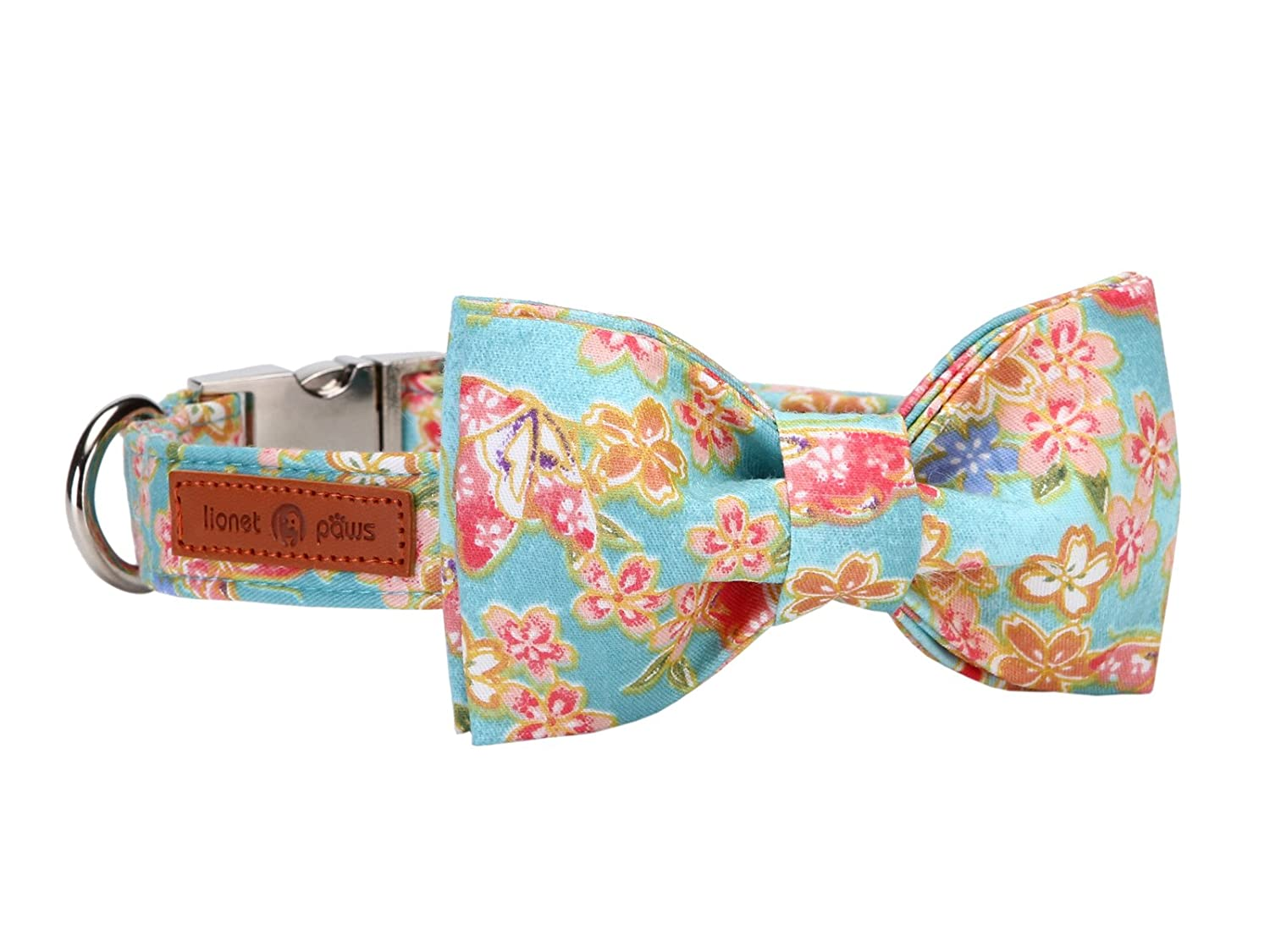 Lotus flower L Lotus flower L Lionet Paws Dog and Cat Collar with Bowtie,Soft and Comfortable,Adjustable Collar