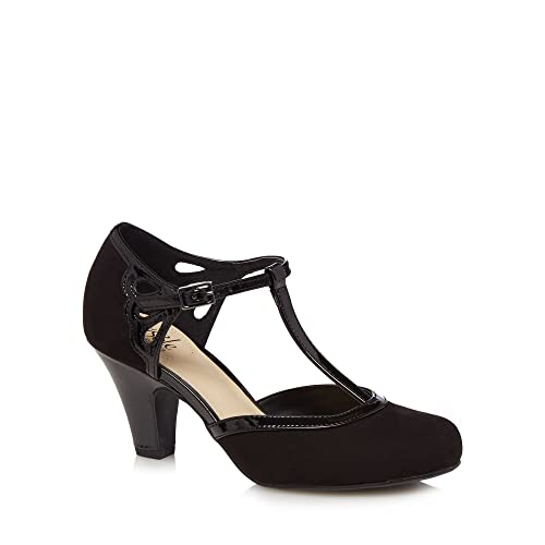 Black patent Glad high heel wide fit T-bar shoes cheap sale amazon best store to get online free shipping order mQc8lL