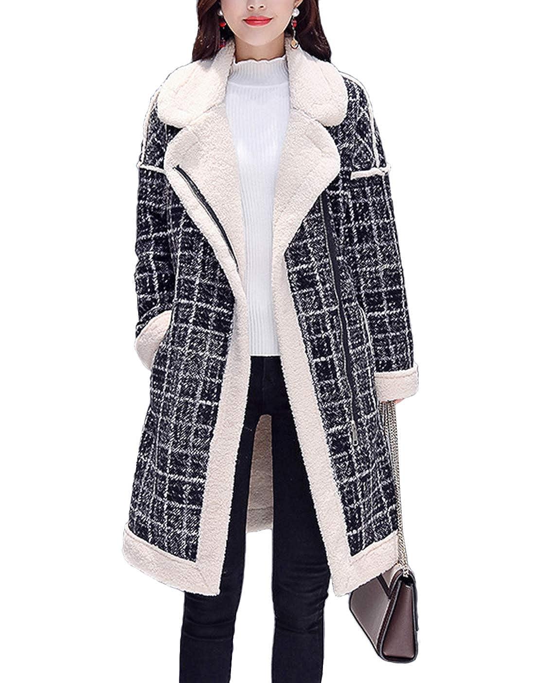 Black White Yeokou Women's Winter Sherpa Lined Zipper Mid Long Plaid Coat Windbreaker