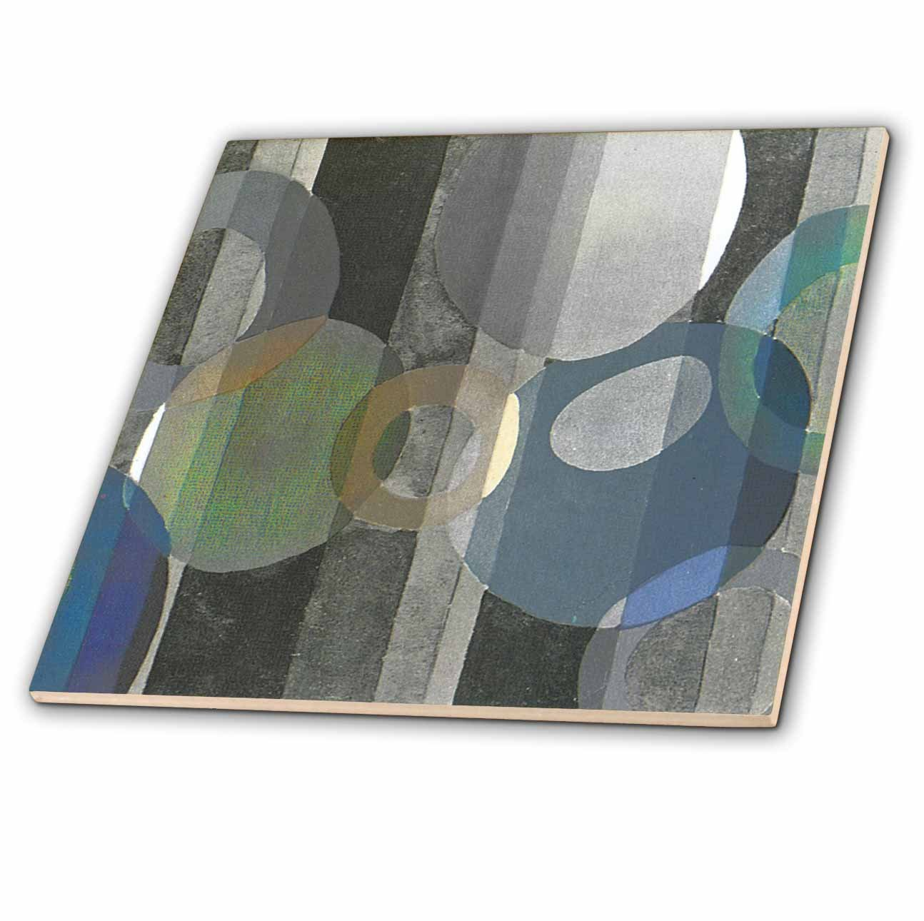 12-Inch 3dRose ct/_26035/_4 Art Deco Silver Design-Ceramic Tile