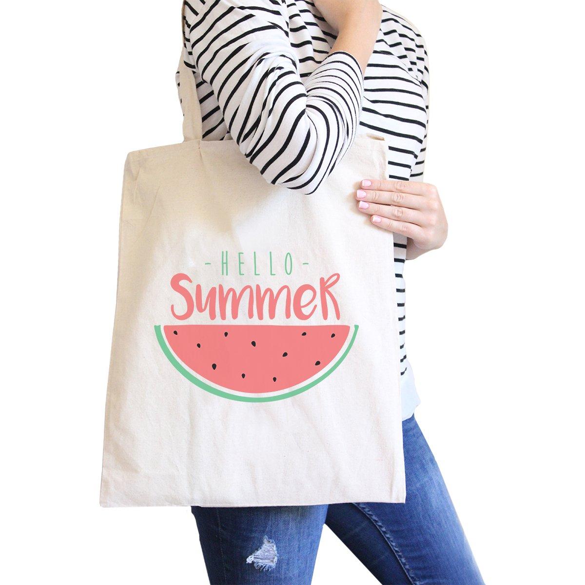 365 Printing Summer Watermelon Natural Canvas Tote Bag Cute Summer Gift Idea
