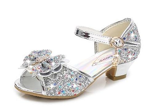 YOGLY Sandalias Para Niñas Zapatos de Tacón Disfraz de Princesa Niñas  Fantasía de Tacones Altos Lazo Lentejuelas Para Fiesta Cosplay Carnaval   Amazon.es  ... cb030545db44