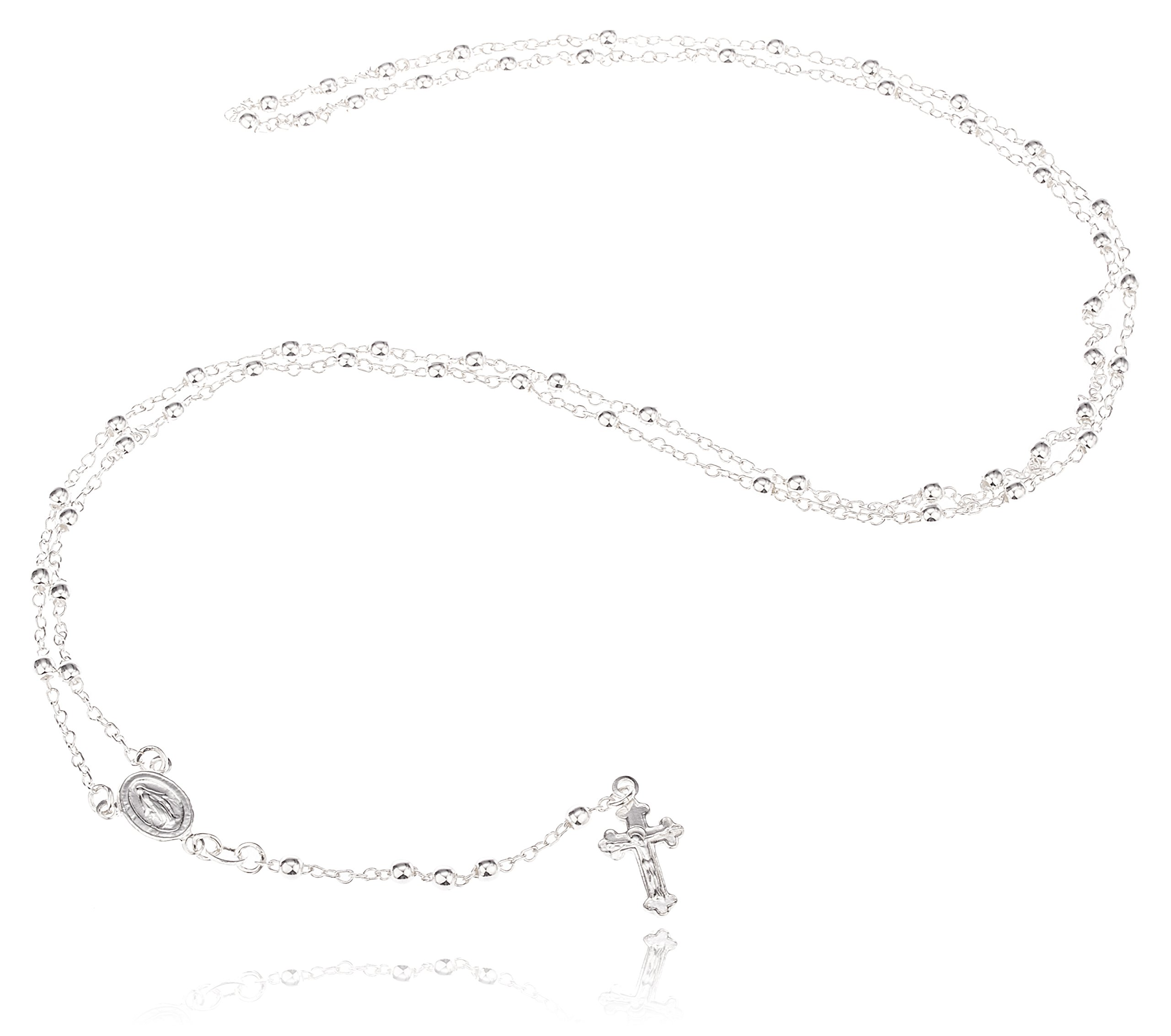 925 Sterling Silver 3mm 24 Inch Beaded Rosary Necklace with Dangling Cross (I-1520)